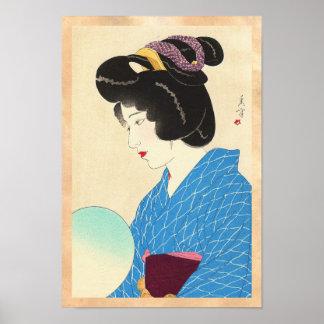 Yamakawa Shuho Dusk Tasogare japanese lady art Poster