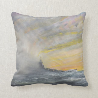 Yamato Emerges from Pacific Typhoon 1944 2010 Pillow