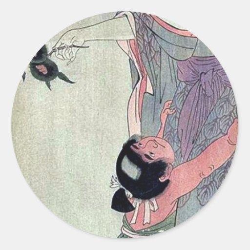 Yamauba que sostiene las castañas por Kitagawa, Etiquetas Redondas
