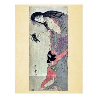 Yamauba que sostiene las castañas por Kitagawa, Postal