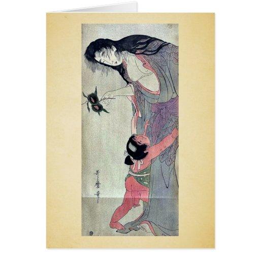 Yamauba que sostiene las castañas por Kitagawa, Ut Tarjetón