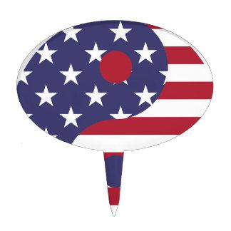Yang Yin America Flag Abstract Art Asian Balance Cake Topper