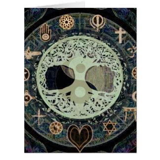 yang ying con símbolos religiosos tarjetas
