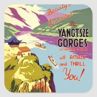 Yangtze River Chinese Travel Poster 1930 Square Sticker