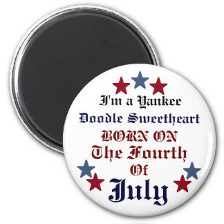 YANKEE DOODLE SWEETHEART BIRTHDAY BUTTON MAGNET
