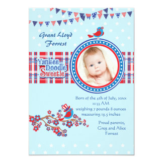 "Yankee Doodle Sweetie Boy Photo Birth Announcement 5"" X 7"" Invitation Card"
