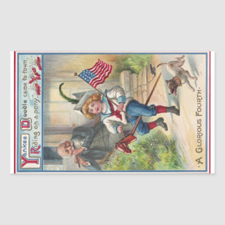 Yankee Doodle Vintage Fourth of July Rectangular Stickers