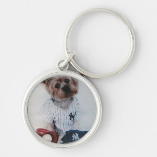 Yankee Fan Terrier Dog Silver-Colored Round Keychain
