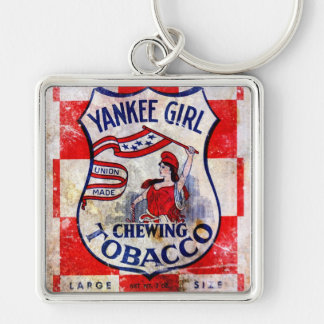 Yankee Girl Chewing Tobacco Silver-Colored Square Keychain
