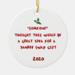Yankee Swap Gift- Holly & Berries Double-Sided Ceramic Round Christmas Ornament