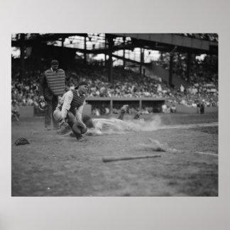Yankees Lou Gehrig Scores Vs. Senators Poster