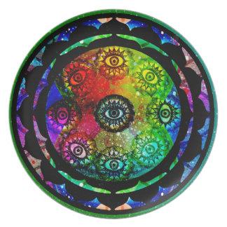 Yantra Eyes Mandala Melamine Plate