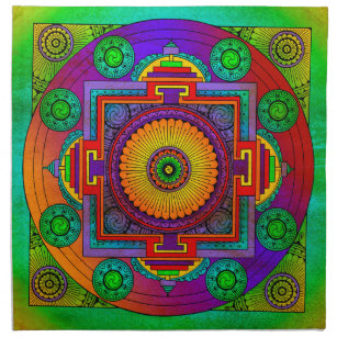 YANTRA - the great wheel - green violet Cloth Napkin