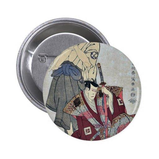 Yaozo III and Hangoro III by Toshusai Sharaku 2 Inch Round Button