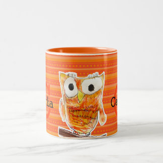 YAP | Custom Designer Owl | Youth Art Project Two-Tone Coffee Mug