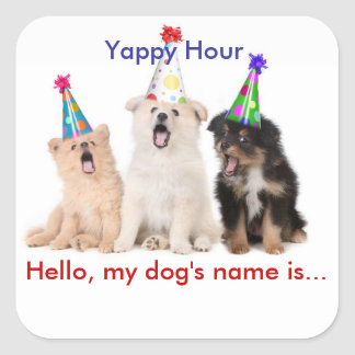 Yappy Hour Name Tag Stickers