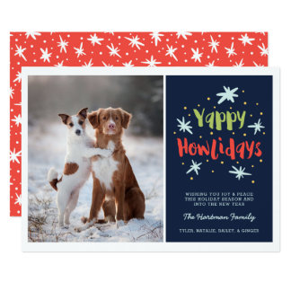 Yappy Howlidays Dog Photo Card | Navy