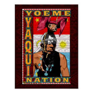 Yaqui Deer Dancer Yoeme poster print on deep red