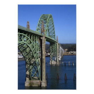 Yaquina Bay Bridge spanning the Yaquina Bay Poster