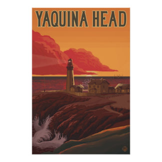 Yaquina Head Lighthouse, Oregon - Travel Poster