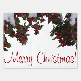 Yard Card - Holly & Berries in Snow Yard Sign