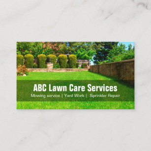 yard lawn care gardening landscaping green grass business card - Lawn Service Business Cards