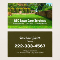 Yard Lawn Care Gardening Landscaping Green Grass Business Card