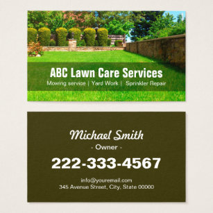 Landscaping business cards templates zazzle yard lawn care gardening landscaping green grass business card accmission Choice Image