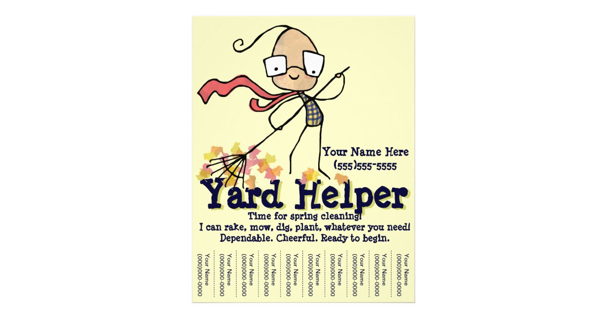 yard lawn cleaning work promotional flyer zazzle com