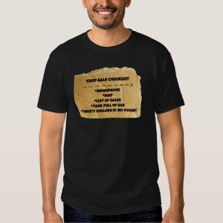 Yard Sale Checklist Funny Humor Tee Shirt
