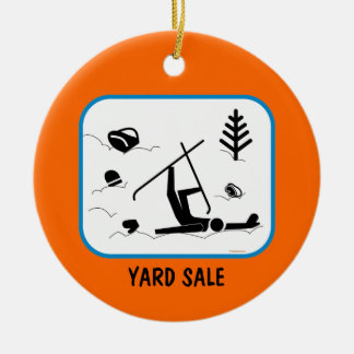 Yard Sale - Funny Skiing Design with Custom Text Ceramic Ornament