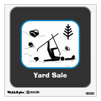 Yard Sale - Funny Skiing Graphic with Custom Text Wall Sticker