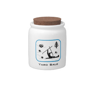 Yard Sale - Funny Skiing Wipeout Design with Text Candy Jar