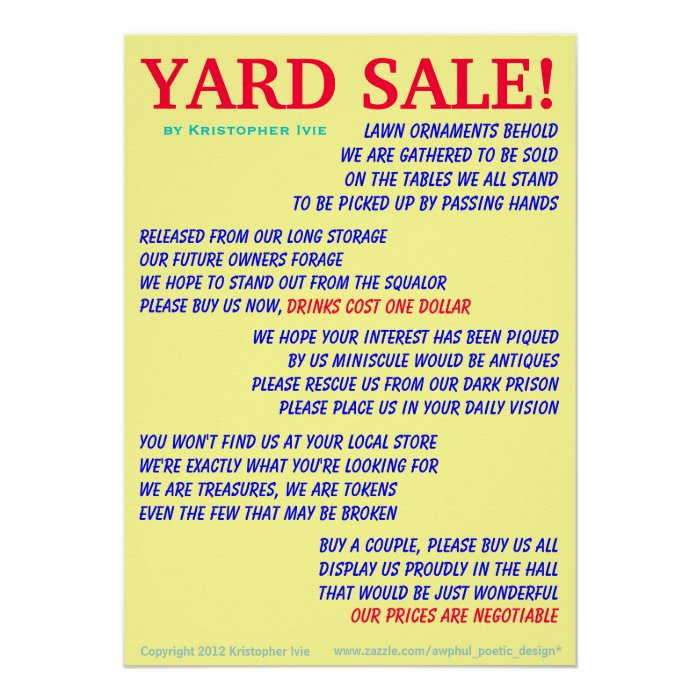 Yard Sale Poem Poster | Zazzle