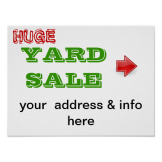 yard sale sign poster