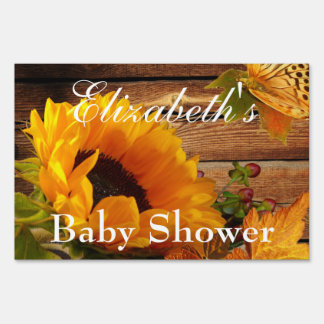 Yard Sign, Baby Shower Rustic Country Sunflower Lawn Sign
