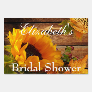 Yard Sign, Bridal Shower Rustic Country Sunflower Yard Sign