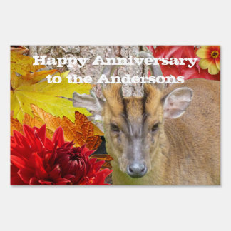 Yard Sign, Happy Anniversary Woodland Forest Deer Lawn Sign