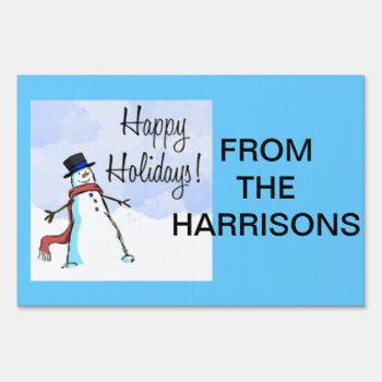 Yard Sign Happy Holidays From The Harrisons by creativeconceptss at Zazzle