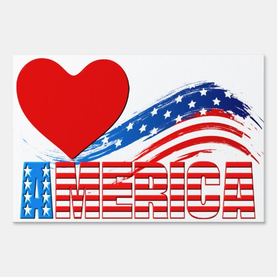 "Yard Sign - (Heart) ""AMERICA"" in Stars and Stripes"