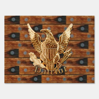 Yard sign Patriot on wood background
