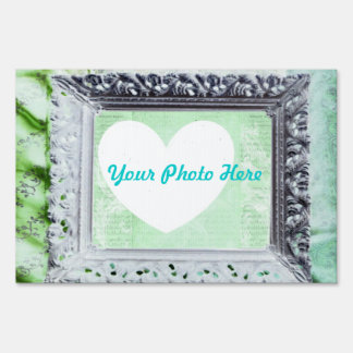 Yard Sign Photo Frame, Silver, Blue, Green