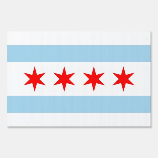 Yard Sign with flag of Chicago, Illinois, USA