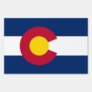 Yard Sign with flag of Colorado, USA