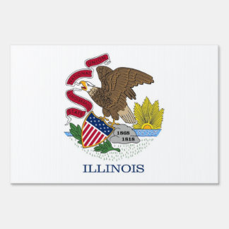 Yard Sign with flag of Illinois, USA