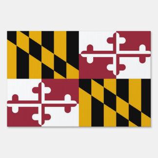 Yard Sign with flag of Maryland, USA