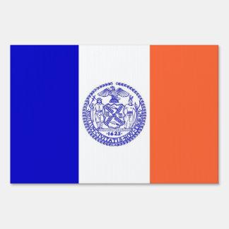 Yard Sign with flag of New York, USA