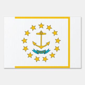 Yard Sign with flag of Rhode Island, USA