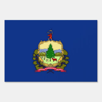Yard Sign with flag of Vermont, USA