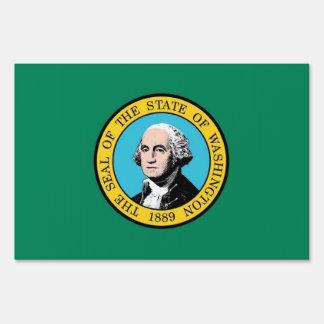 Yard Sign with flag of Washington, USA